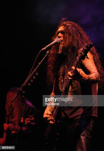 Guitarist Jeff Hanneman and bassist and vocalist Tom Araya of Slayer perform with the group during the 2009 Rockstar Energy Drink Mayhem Festival at...