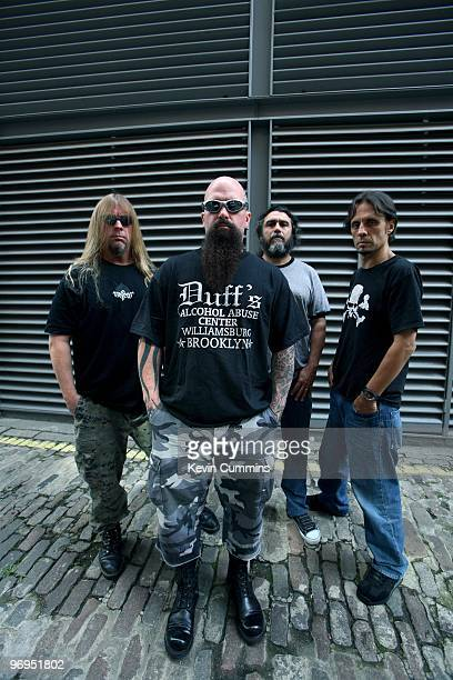 Guitarist Jeff Hanneman Kerry King bassist and singer Tom Araya and drummer Dave Lombardo of American rock band Slayer in London England on August 24...