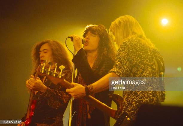 Guitarist Jeff Labar singer Tom Keifer and bassist Eric Brittingham of the band Cinderella perform at Stabler Arena on May 7 1991 in Bethlehem...