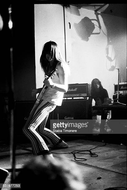 Guitarist Jeff McDonald performs on stage with American alternative rock band Redd Kross at Medusa's in June of 1987 in Chicago Illinois USA
