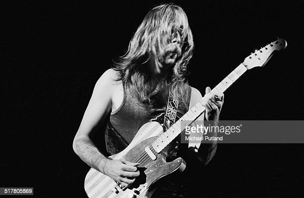 Guitarist Jeff 'Skunk' Baxter performing with American jazz rock group Steely Dan at the Rainbow Theatre London 21st May 1974