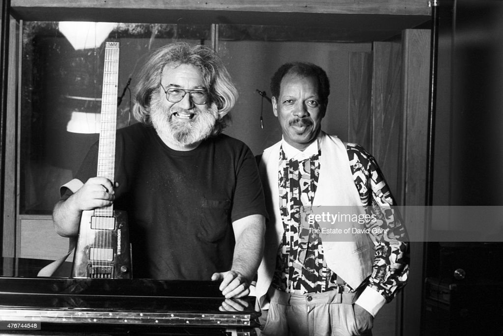 Guitarist Jerry Garcia and composer, musician, and jazz saxophonist Ornette Coleman pose for a portrait together during a recording session for Mr. Coleman's 1988 album, Virgin Beauty, featuring accompaniement by Mr. Garcia, in January 1988 in New York City, New York. .