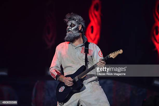 Guitarist Jim Root of American heavy metal group Slipknot performing live on the Main Stage at Download Festival on June 14 2013
