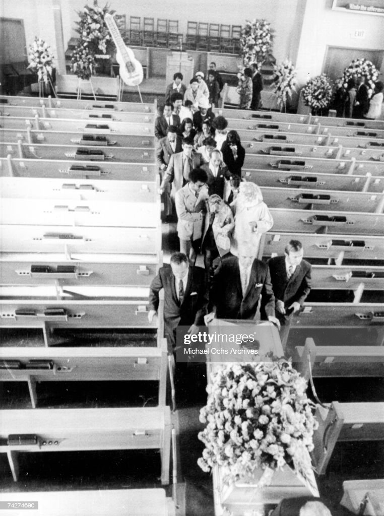 Guitarist Jimi Hendrix's casket is followed from the church by members of his family and childhood friends on October 1, 1970 in Seattle, Washington.