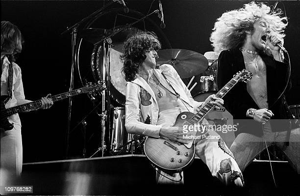 Guitarist Jimmy Page and singer Robert Plant of British rock band Led Zeppelin performing on stage at Madison Square Garden in New York City in June...