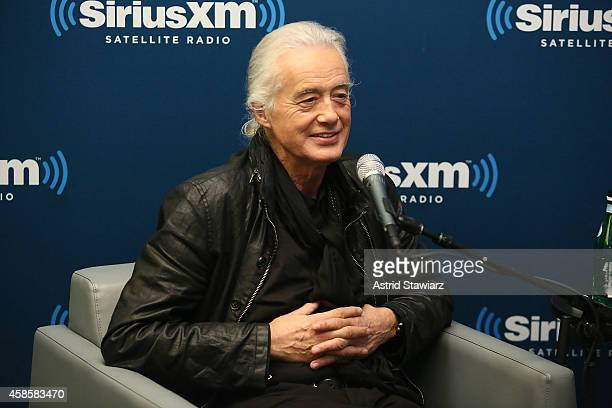 Guitarist Jimmy Page attends SiriusXM's 'Town Hall' with Jimmy Page hosted by Earle Bailey On SiriusXM's Classic Vinyl channel at SiriusXM Studios on...