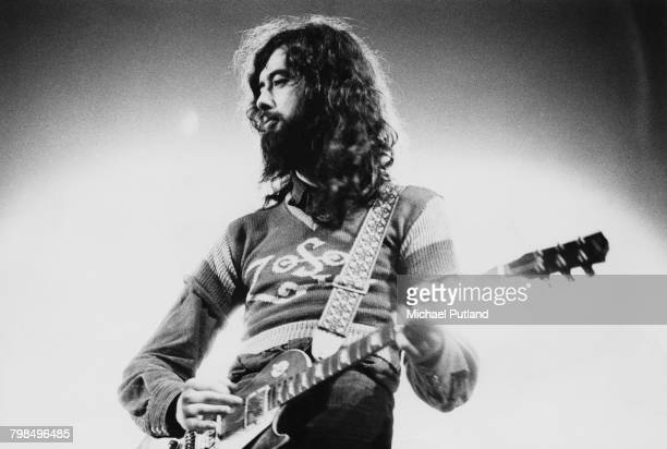 Guitarist Jimmy Page of English rock group Led Zeppelin plays a Gibson Les Paul guitar live on stage at the Empire Pool Wembley London 23rd November...