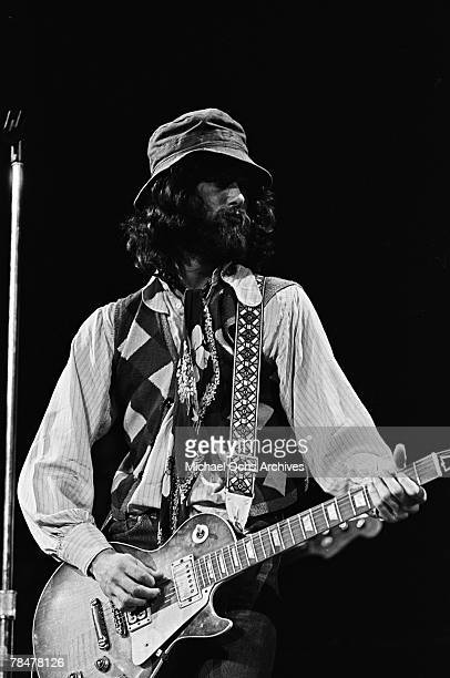 Guitarist Jimmy Page of the rock band 'Led Zeppelin' performs onstage with a Gibson Les Paul electric guitar at the Forum on September 4 1970 in Los...