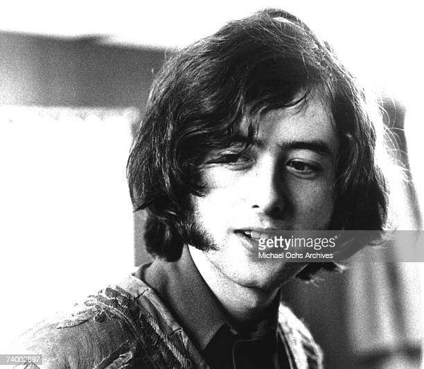 Guitarist Jimmy Page of the rock band The Yardbirds poses for a portrait before their show at Green's Pavilion in Lakeview Park on August 10 1966 in...