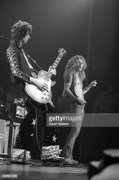 GARDEN Photo of LED ZEPPELIN and Robert PLANT and Jimmy PAGE Jimmy Page and Robert Plant performing on stage during filming for 'The Song Remains The...