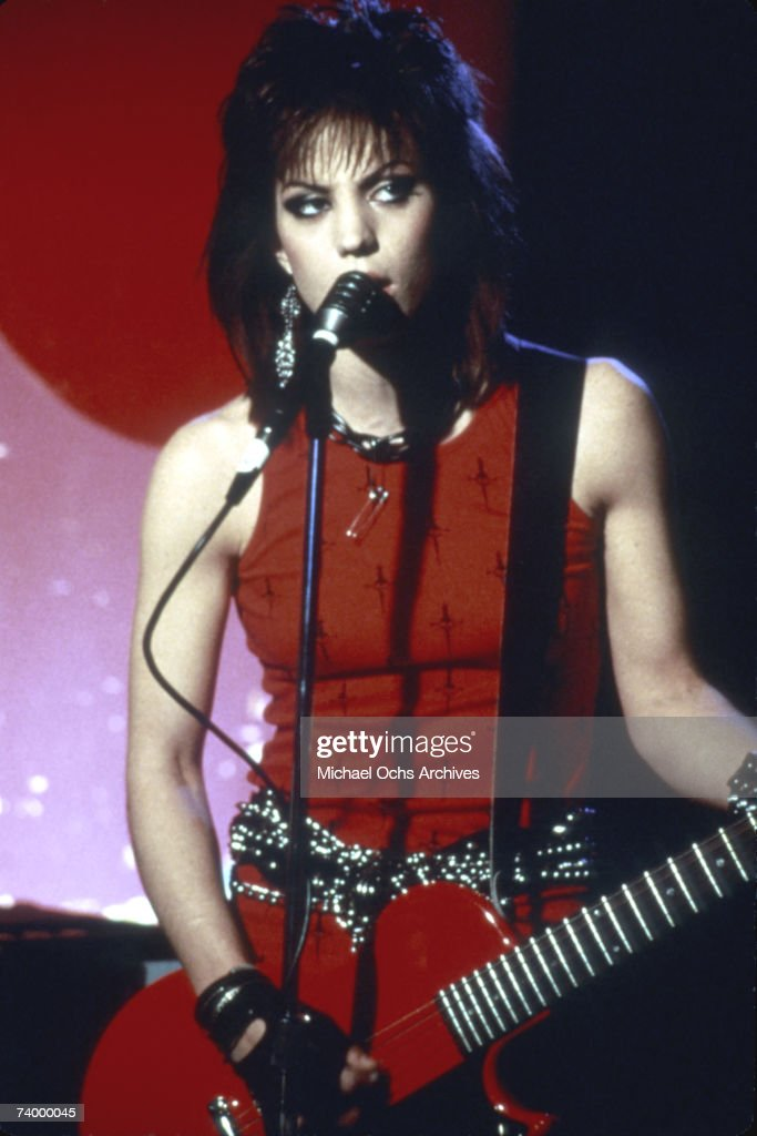 Guitarist Joan Jett of the rock band 'The Runaways' performs on stage in Los Angeles in 1978.