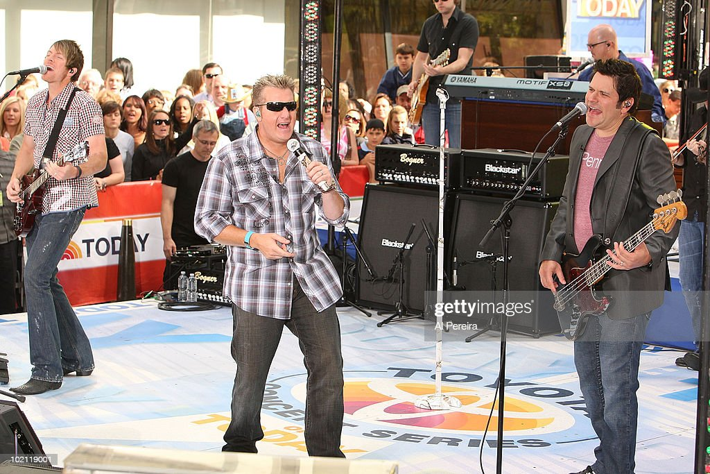 Guitarist Joe Don Rooney, Singer Gary Levox and Bassist Jay DeMarcus of Rascall Flatts perform on NBC's 'Today in Rockefeller Center on June 11, 2010 in New York City.