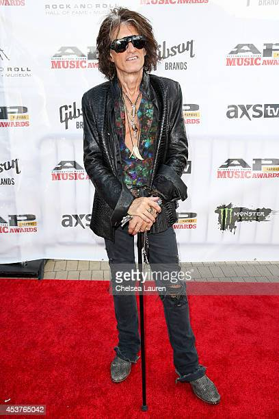 Guitarist Joe Perry of Aerosmith attends the 2014 Gibson Brands AP Music Awards at the Rock and Roll Hall of Fame and Museum on July 21 2014 in...