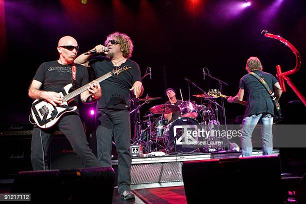 Guitarist Joe Satriani vocalist Sammy Hagar drummer Chad Smith and bassist Michael Anthony of Chickenfoot perform at the Gibson Amphitheatre on...