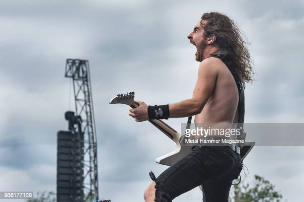 Guitarist Joel O'Keeffe of Australian hard rock group Airbourne performing live on stage at Download Festival in Castle Donington England on June 11...