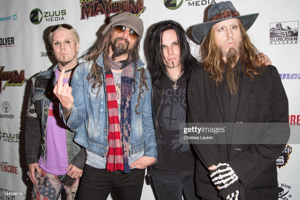 Guitarist John 5, vocalist Rob Zombie, bassist Piggy D., and drummer Ginger Fish of Rob Zombie attend the 6th annual Rockstar energy drink Mayhem festival press conference at The Whiskey A Go Go on March 18, 2013 in West Hollywood, California.