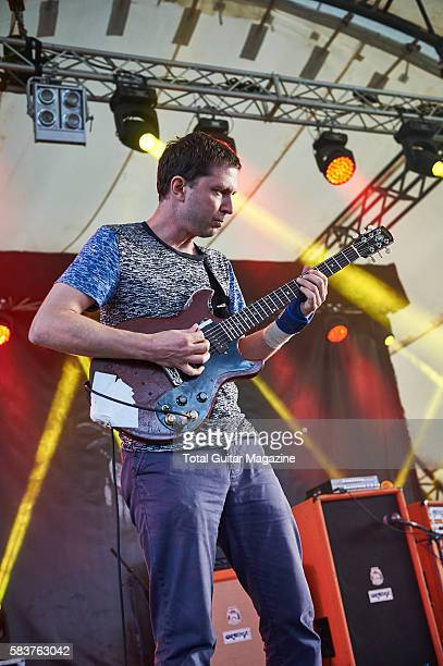 Guitarist John Dieterich of noise rock group Deerhoof performing live on stage at ArcTanGent Festival in Somerset on August 22 2015