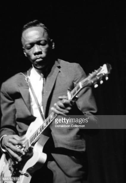 Guitarist John Lee Hooker performing at the Apollo Theater with an Epiphone guitar in January 1966 in New York New York