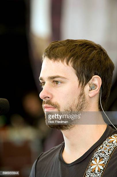 Guitarist John Walker of Panic At The Disco performs during rehearsals prior to their concert in Boston