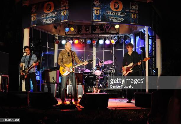 Guitarist Johnny Hickman singer/guitarist David Lowery drummer Frank Funaro and bass guitarist Sal Maida of Cracker performs at VooDoo Beach Poolside...