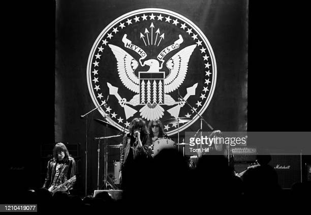 Guitarist Johnny Ramone, singer Joey Ramone, drummer Tommy Ramone and bassist Dee Dee Ramone of the punk-rock band The Ramones performs at Atlanta...