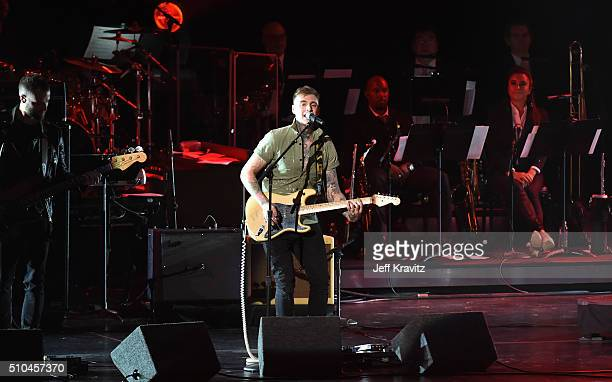 Guitarist Johnny Stevens of Highly Suspect performs onstage during The 58th GRAMMY Premiere Ceremony at Los Angeles Convention Center on February 15...