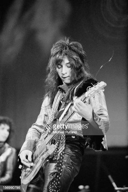 Guitarist Johnny Thunders from American rock band the New York Dolls performs live on stage at the Wembley Festival of Music at the Empire Pool...