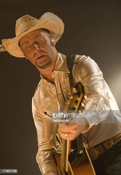 """Guitarist Jon Flemming Olsen of the German country band """"Texas Lightning"""" performs live during a concert at the Columbiahalle September 25, 2006 in..."""