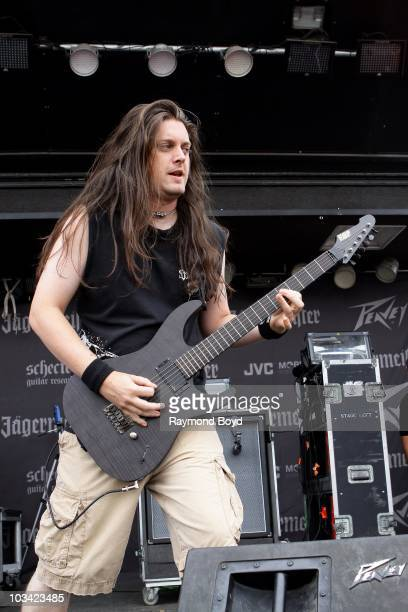 Guitarist Jonathan Donais of Shadows Fall performs during the Rockstar Energy Drink Mayhem Festival in Tinley Park Illinois on JULY 30 2010