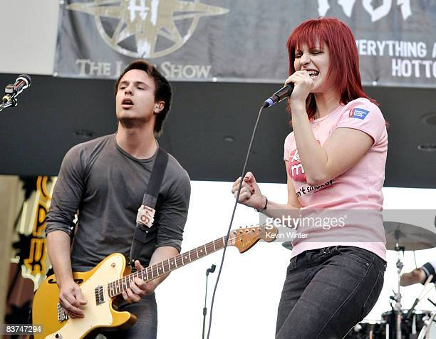 """Guitarist Josh Farro and singer Hayley Williams appear at the """"Twilight"""" cast's Q & A and Paramore's live performance and autograph signing at the..."""