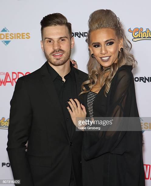Guitarist Josh Peltier of Myka Relocate and adult film actress Janice Griffith attend the 2016 Adult Video News Awards at the Hard Rock Hotel Casino...