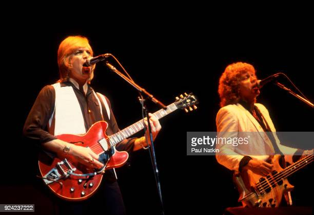 Guitarist Justin Hayes left and bassist John Lodge of the Moody Blues perform at the Poplar Creek Music Theater in Hoffman Estates Illinois July 18...
