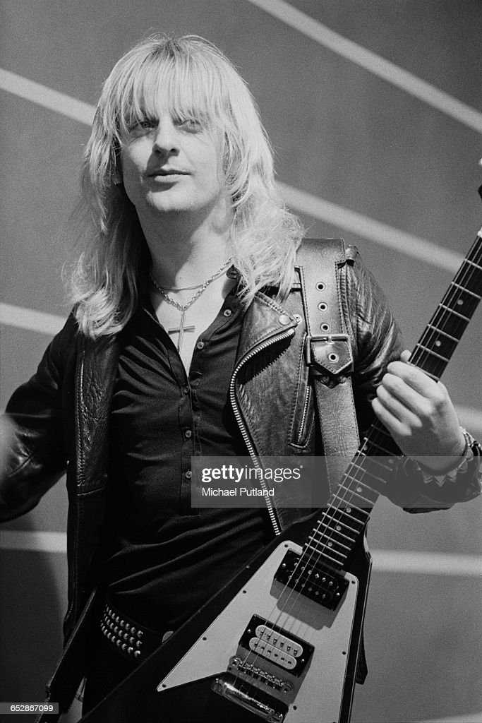 Guitarist K. K. Downing of British heavy metal band Judas Priest, at the video shoot for the group's single, 'Don't Go', January 1981.