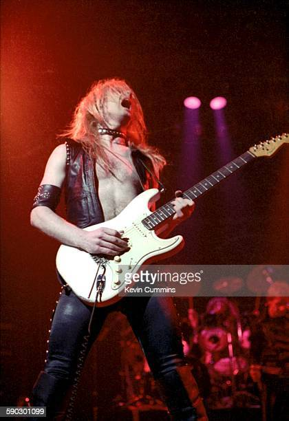 Guitarist K K Downing performing with British heavy metal group Judas Priest at the Liverpool Empire 13th May 1979