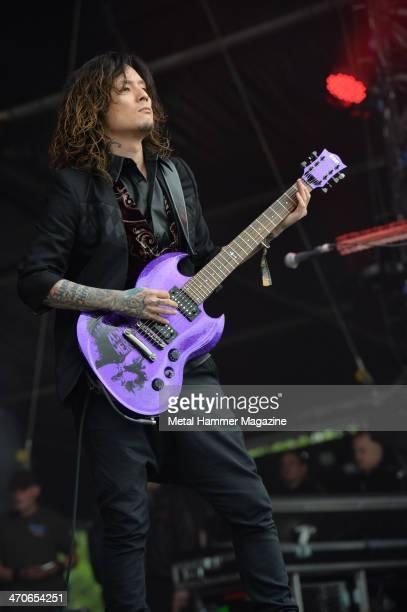 Guitarist Kaoru of Japanese alternative metal group Dir En Grey performing live on the Zippo Encore Stage at Download Festival on June 14 2013