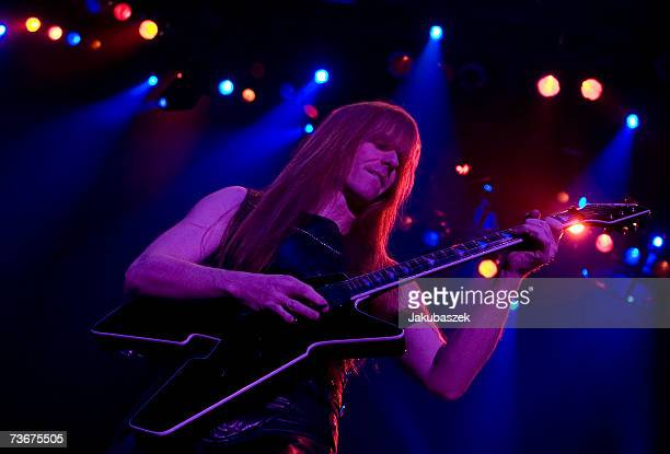 Guitarist Karl Logan of the heavy metal band Manowar performs during a concert at the MaxSchmelingHalle March 22 2007 in Berlin Germany The concert...