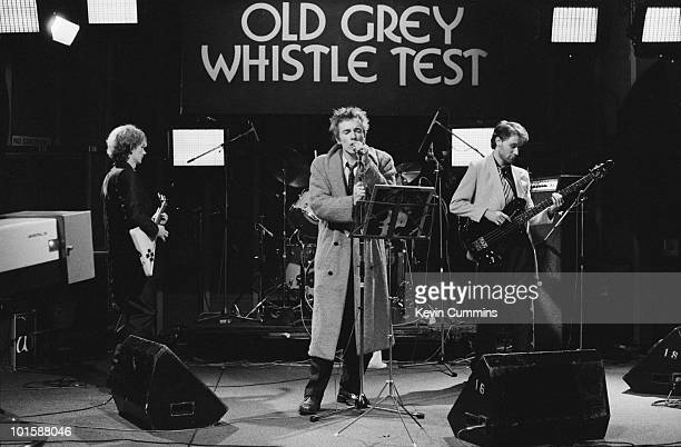 Guitarist Keith Levene singer John Lydon and bassist Jah Wobble of Public Image Ltd perform on the BBC television show 'Old Grey Whistle Test' filmed...