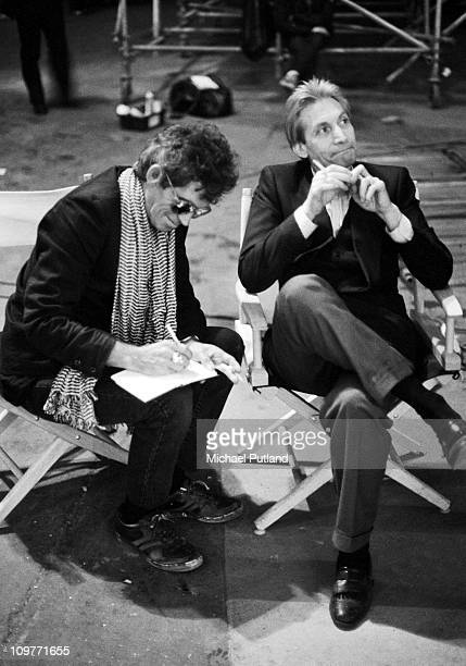 Guitarist Keith Richards and drummer Charlie Watts of the Rolling Stones on the set of the music video for 'One Hit ' in England in May 1986