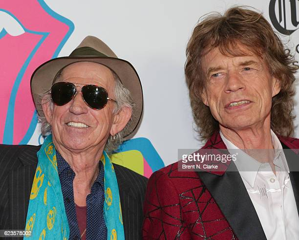 Guitarist Keith Richards and singer Mick Jagger attend The Rolling Stones Exhibitionism opening night held at Industria Superstudio on November 15...