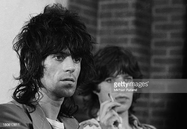 Guitarist Keith Richards and singer Mick Jagger of the Rolling Stones at a press conference in Amsterdam Netherlands 12th October 1973