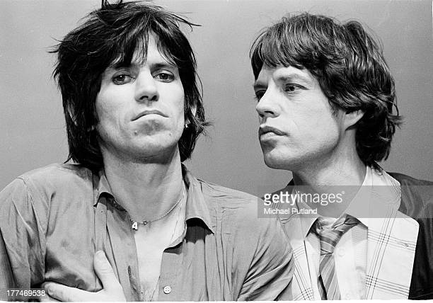Guitarist Keith Richards and singer Mick Jagger of the Rolling Stones on the set of a video shoot in New York May 1978