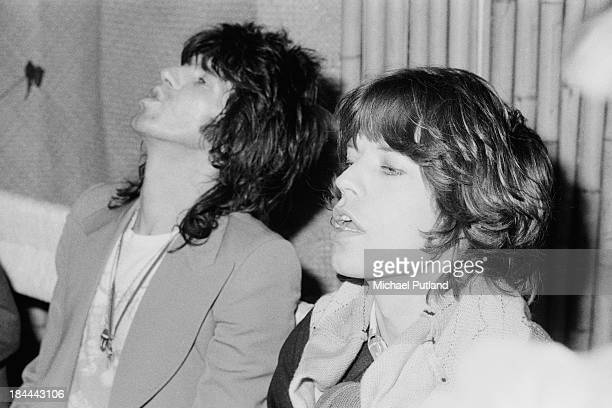 Guitarist Keith Richards and singer Mick Jagger of the Rolling Stones at a press conference at the Sportpaleis AHOY Rotterdam Netherlands 13th14th...
