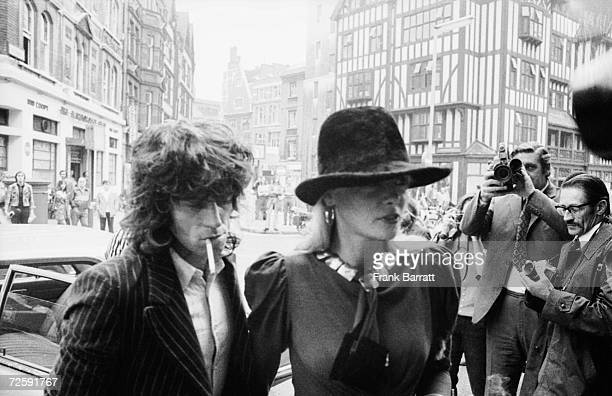 Guitarist Keith Richards of the Rolling Stones arrives at Marlborough Street Court London with girlfriend Anita Pallenberg 27th June 1973 The pair...