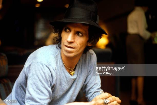 Guitarist Keith Richards of The Rolling Stones on an aircraft 1982