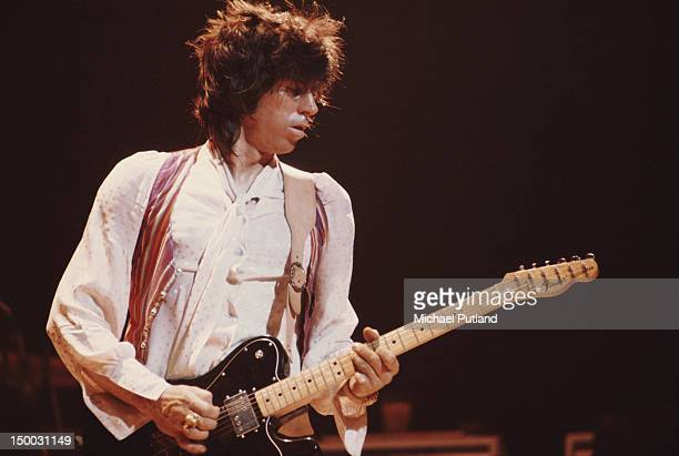 Guitarist Keith Richards of the Rolling Stones performing on stage at Wembley Empire Pool London September 1973