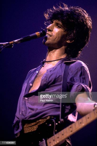 Guitarist Keith Richards of the Rolling Stones with his band the New Barbarians performs at the International Amphitheatre on April 28 1979 in...