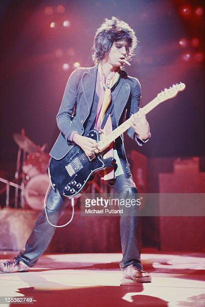 Guitarist Keith Richards performing with Ron Wood's band The New Barbarians, 1979.