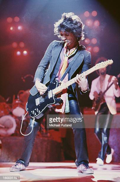 Guitarist Keith Richards performing with Ron Wood's band The New Barbarians 1979