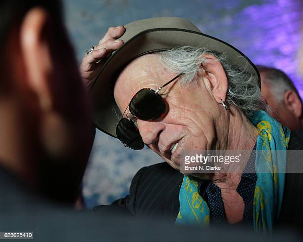 Guitarist Keith Richards speaks to the media during The Rolling Stones Exhibitionism opening night held at Industria Superstudio on November 15 2016...