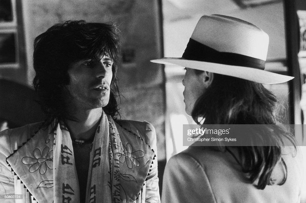 Guitarist Keith Richards with German actress Uschi Obermaier during the Rolling Stones Tour of the Americas, 1975.